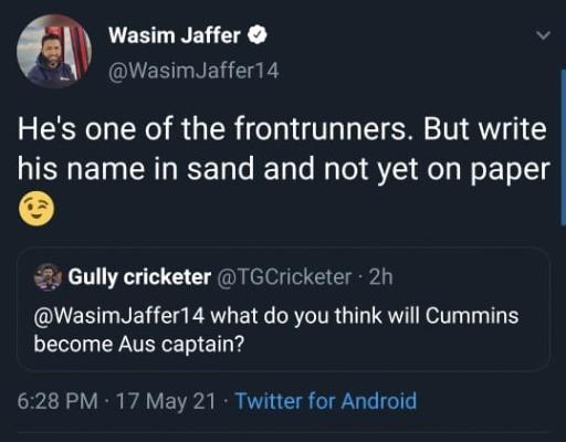 Wasim Jaffer tweet
