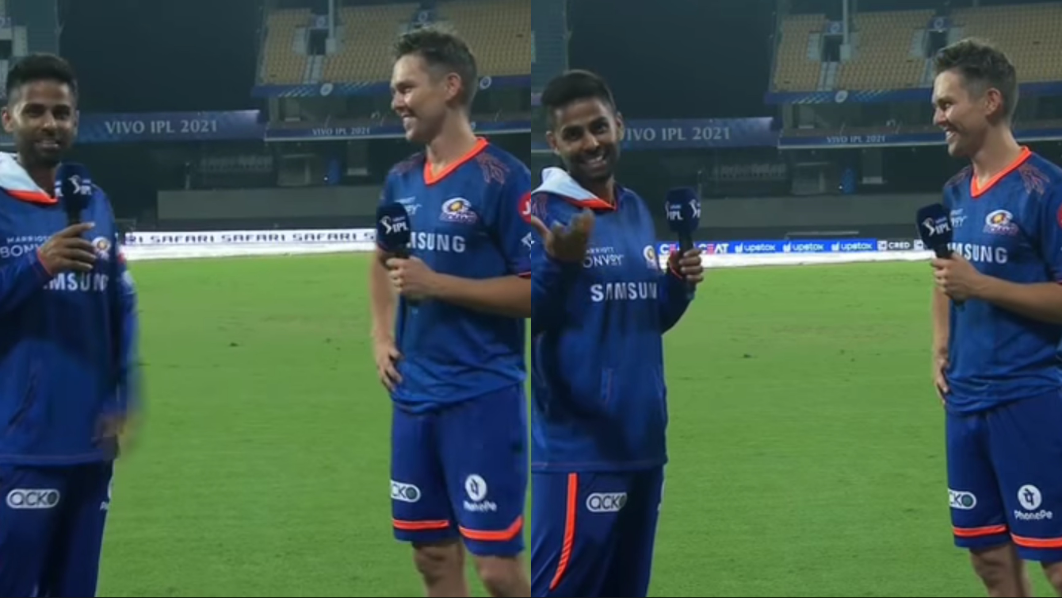 WATCH: Suryakumar Yadav tests Hindi skills of Trent Boult