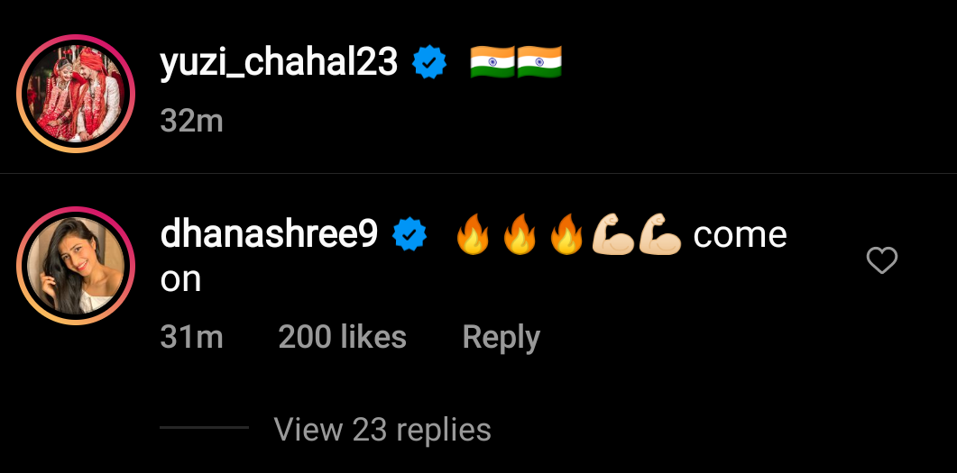 Comment of Dhanashree Verma