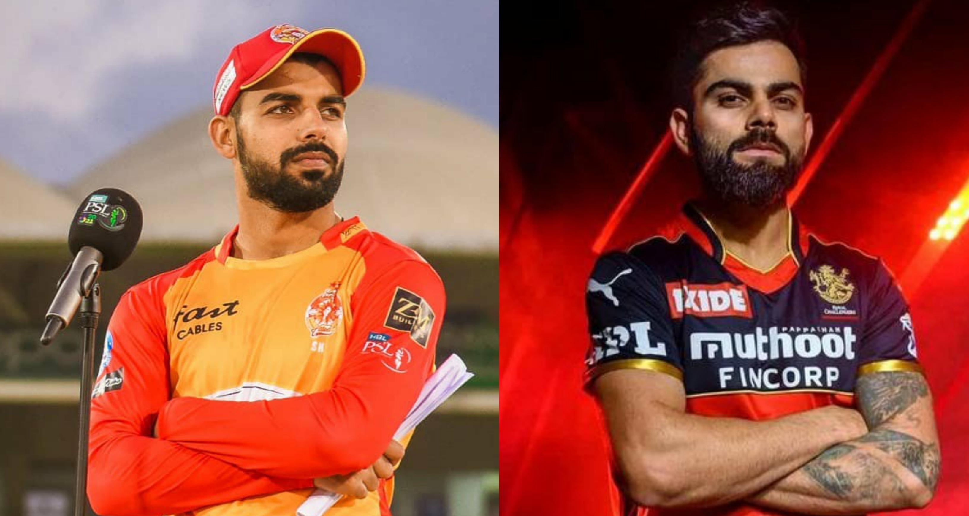Shadab Khan and Virat Kohli