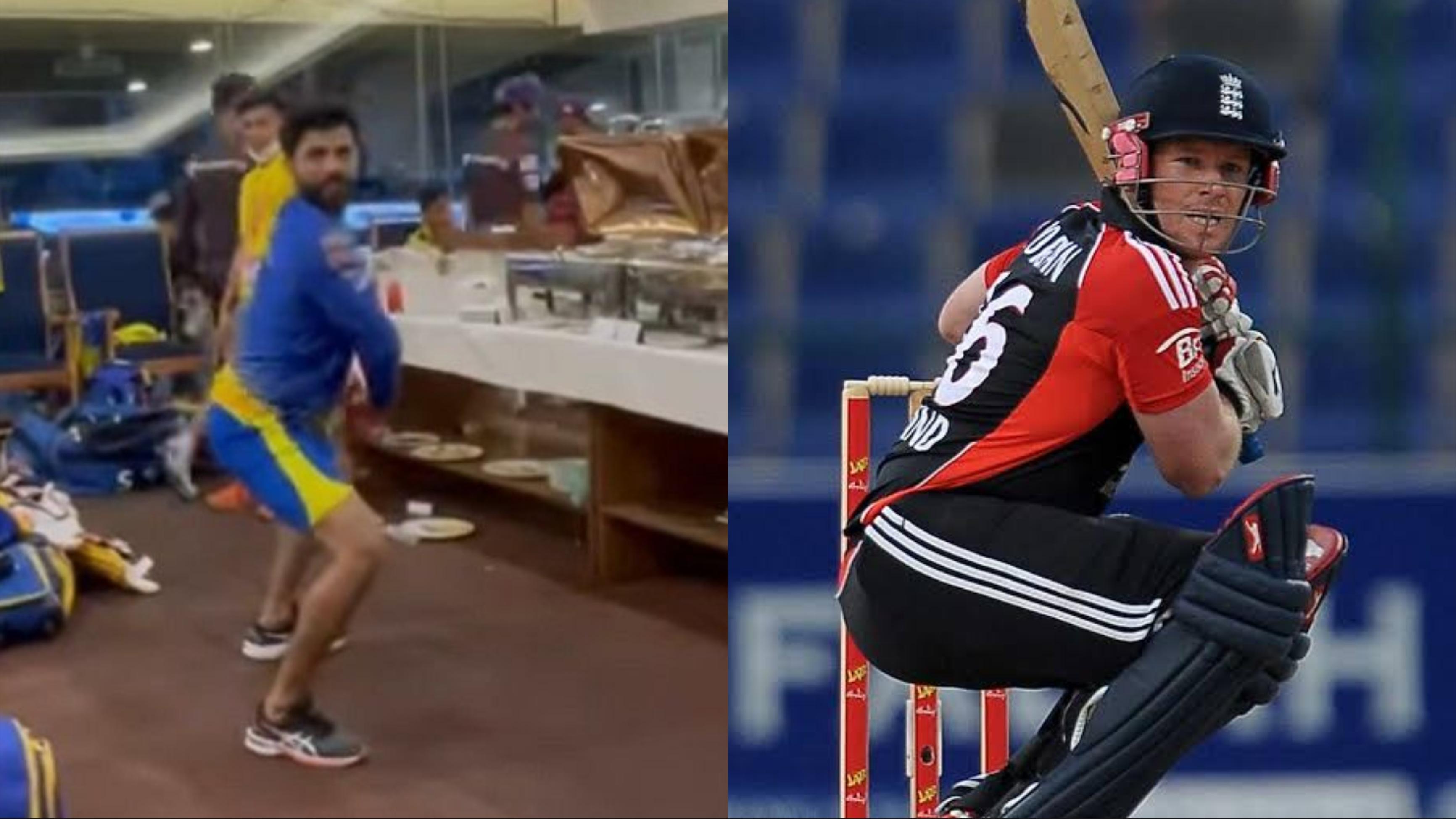 WATCH: Chennai Super Kings' Ravindra Jadeja emulates Eoin Morgan's batting stance